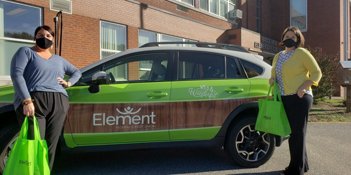 Community donation and supply drop off with Element Truckster